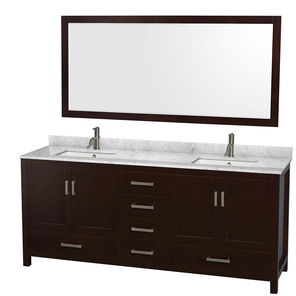 Sheffield 80-inch W Double Vanity in Espresso with Marble Top in Carrara White and 70-inch Mirror