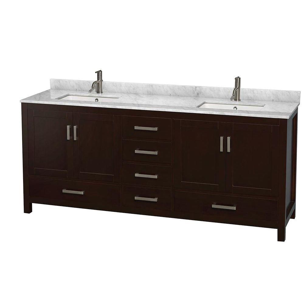 Sheffield 80-inch W Double Vanity in Espresso with Marble Top in Carrara White