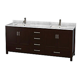 Wyndham Collection Sheffield 80-inch W 5-Drawer 4-Door Vanity in Brown With Marble Top in White, Double Basins