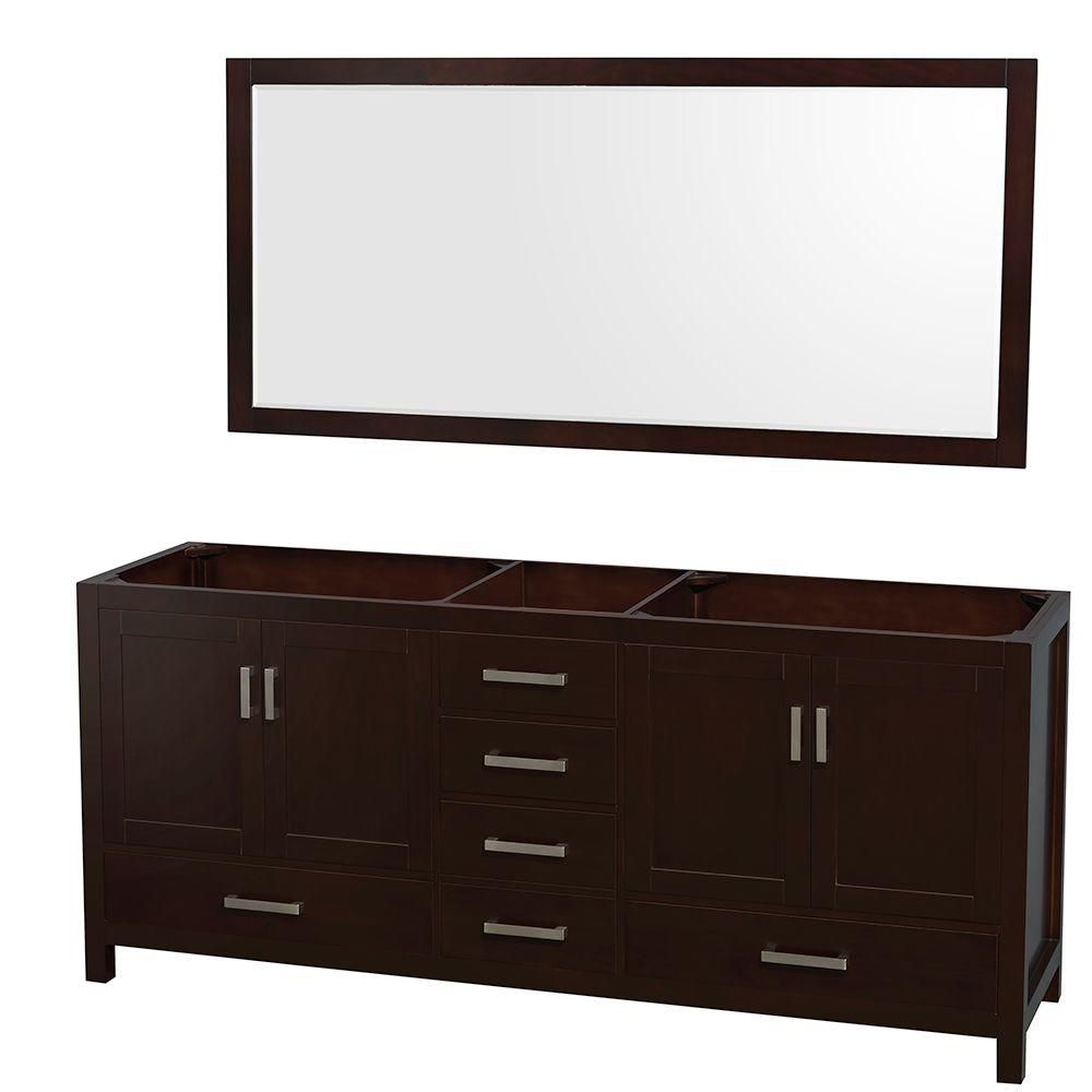 Sheffield 80 In. Double Vanity Cabinet with 70 In. Mirror in Espresso WCS141480DESCXSXXM70 in Canada