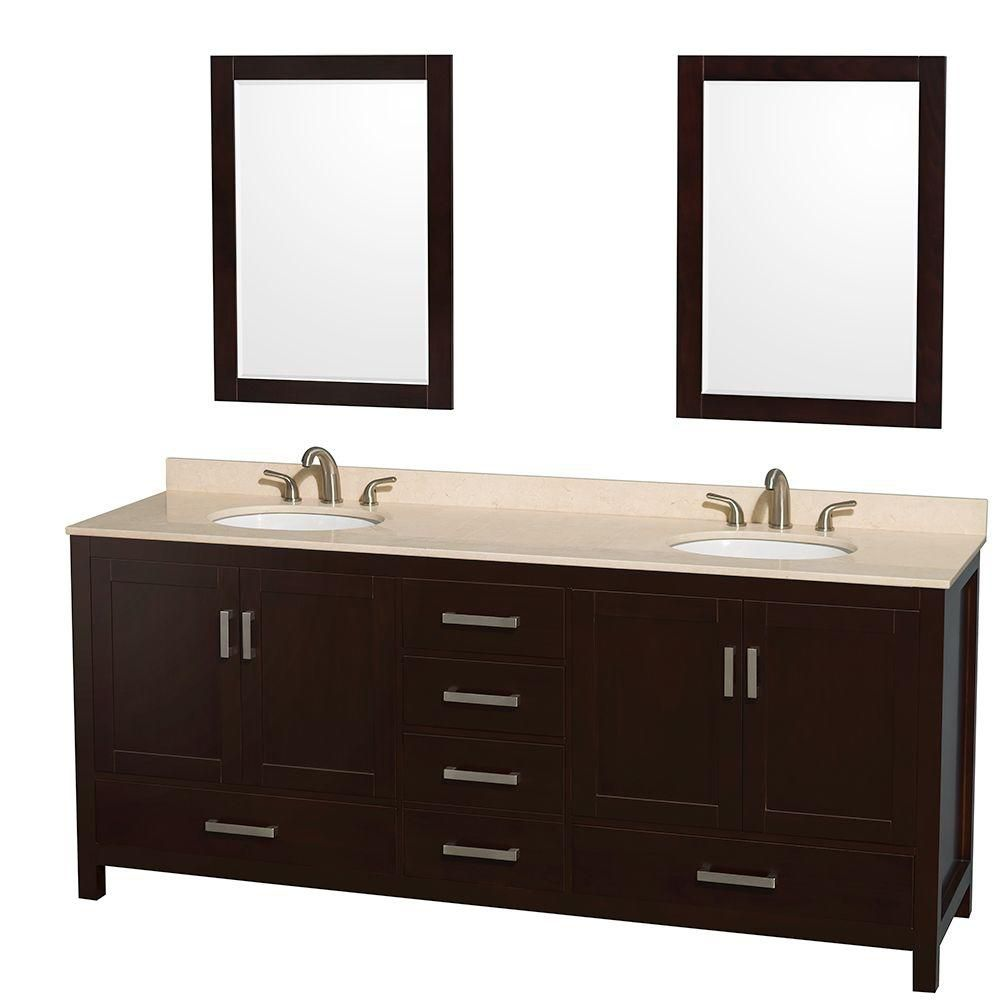 Sheffield 80-inch W Double Vanity in Espresso with Marble Top in Ivory and 24-inch Mirrors