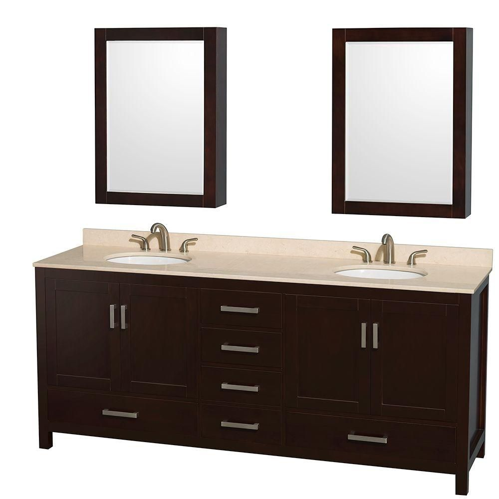 Sheffield 80-inch W Double Vanity in Espresso with Marble Top in Ivory and Medicine Cabinets
