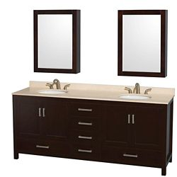 Wyndham Collection Sheffield 80-inch W 5-Drawer 4-Door Vanity in Brown With Marble Top in Beige Tan, Double Basins