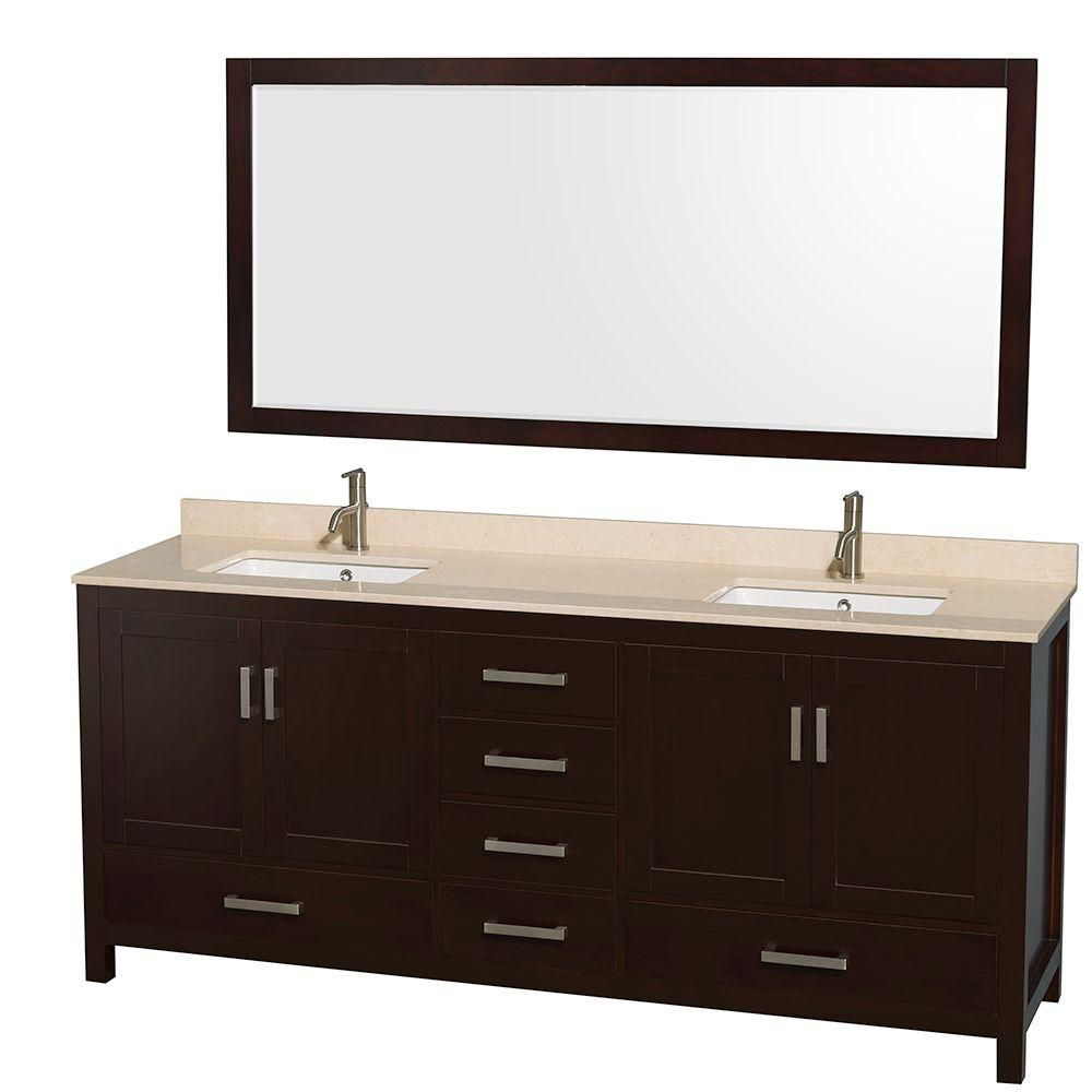 Sheffield 80-inch W Double Vanity in Espresso with Marble Top in Ivory and 70-inch Mirror