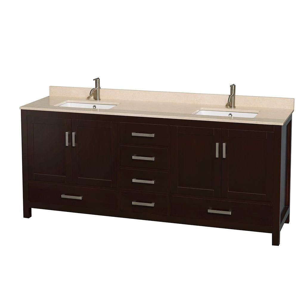 Sheffield 80-inch W Double Vanity in Espresso with Marble Top in Ivory