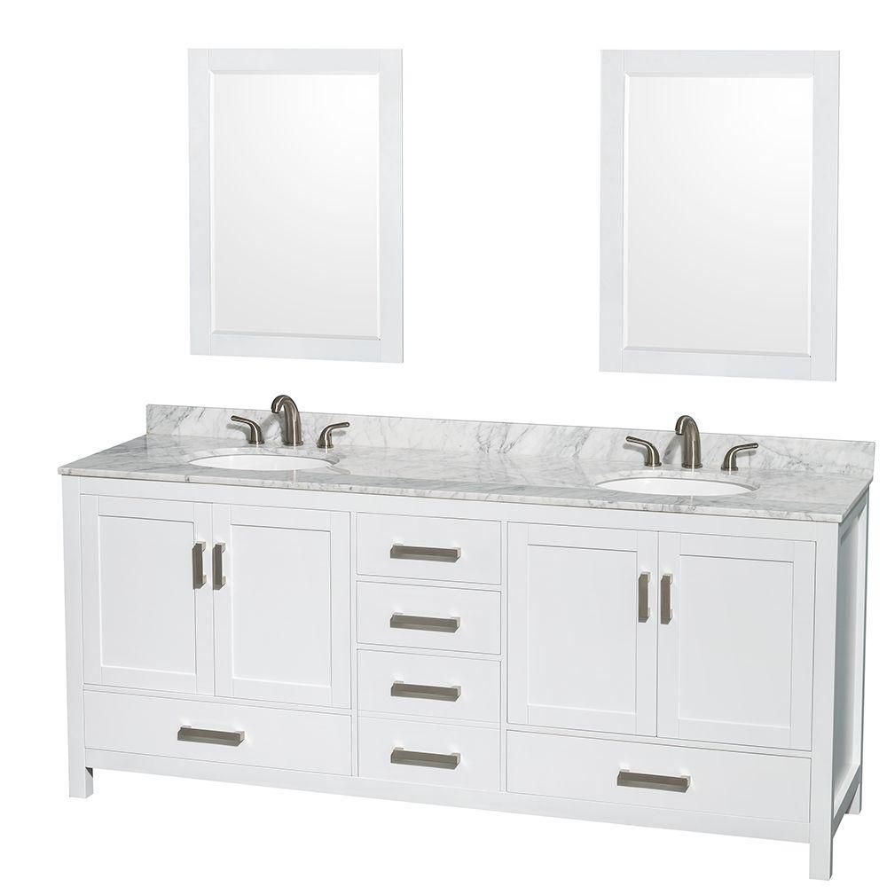 Sheffield 80-inch W Double Vanity in Espresso with Marble Top in Carrara White and Mirrors