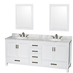Wyndham Collection Sheffield 80-inch W 5-Drawer 4-Door Vanity in White With Marble Top in White, 2 Basins With Mirror