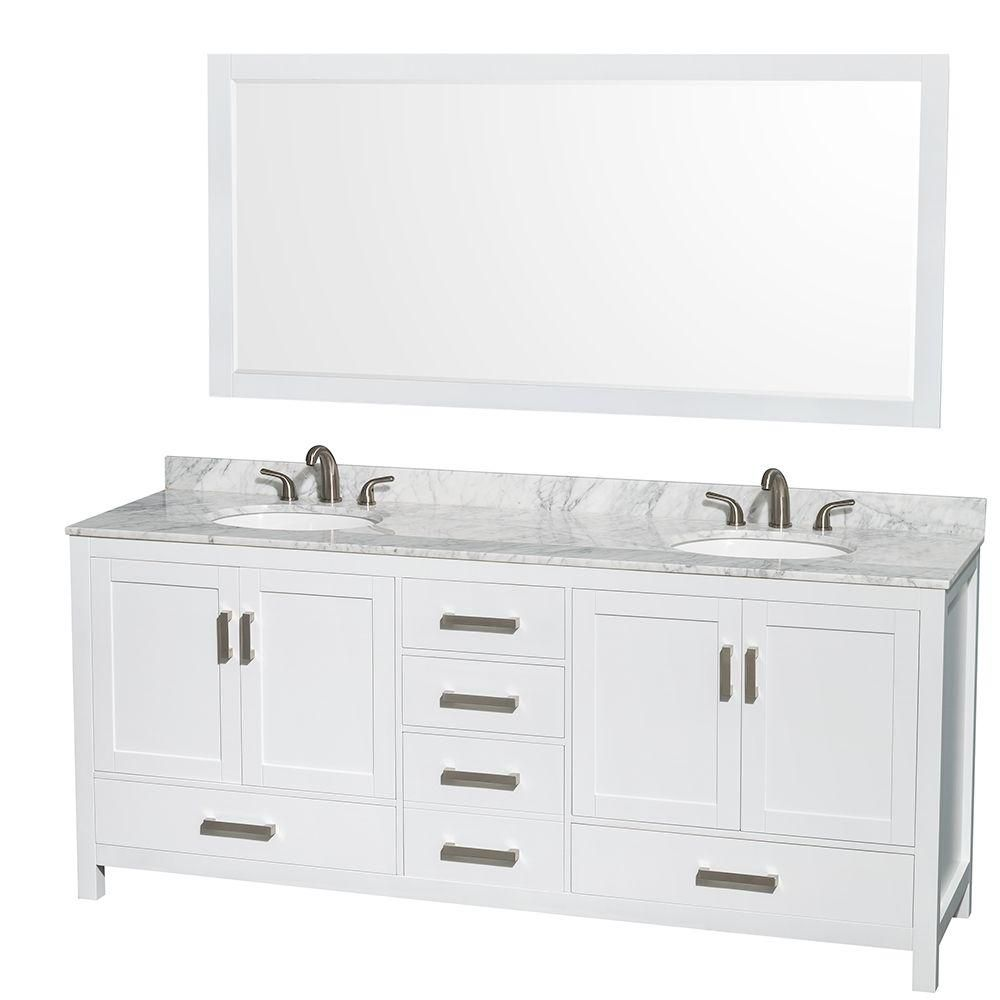 Sheffield 80-inch W Double Vanity in White with Marble Top in Carrara White and 70-inch Mirror