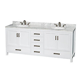 Wyndham Collection Sheffield 80-inch W 5-Drawer 4-Door Vanity in White With Marble Top in White, Double Basins