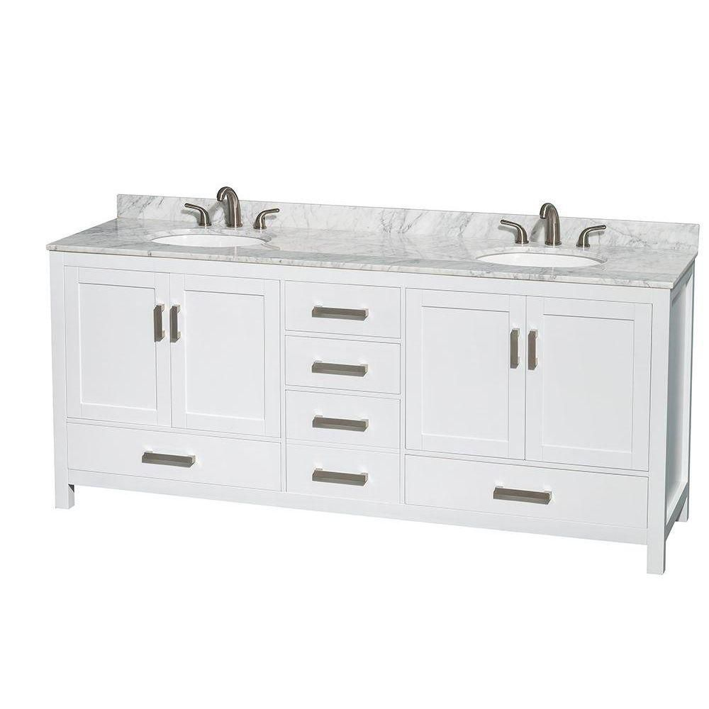 Sheffield 80-inch W 5-Drawer 4-Door Vanity in White With Marble Top in White, Double Basins