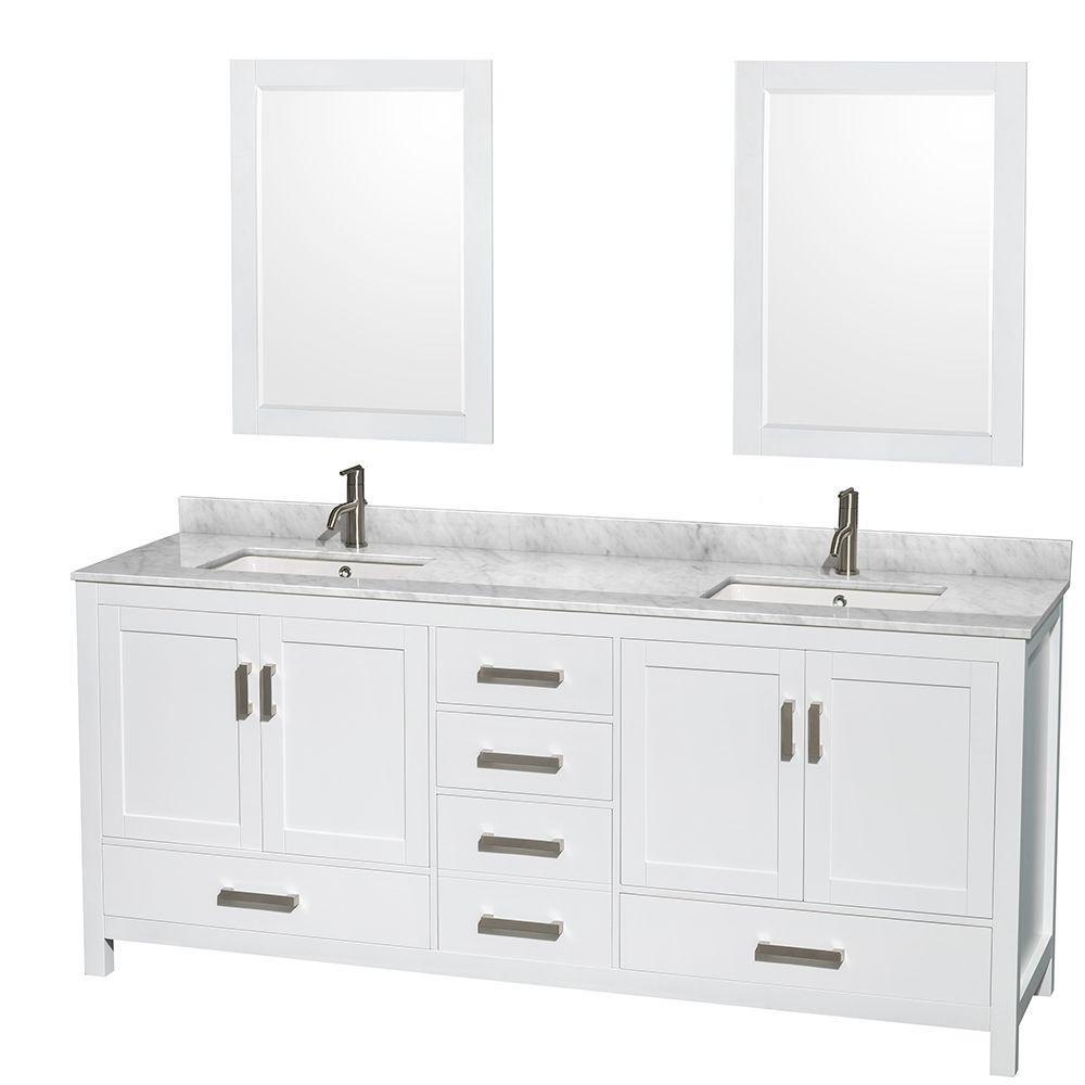Sheffield 80 po Meuble blanc dbl. et revêt. en marbre blanc Carrare et de 61cm 24 po Miroirs