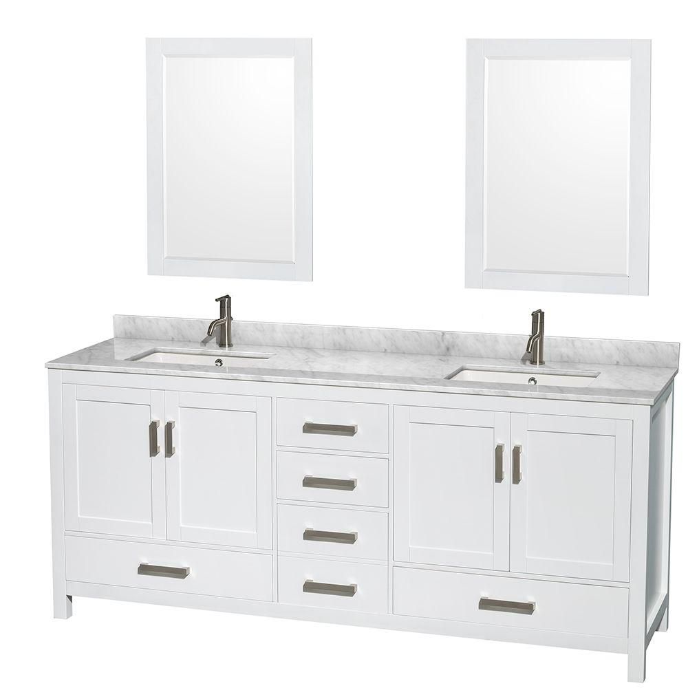 Sheffield 80-inch W Double Vanity in White with Marble Top in Carrara White and 24-inch Mirrors