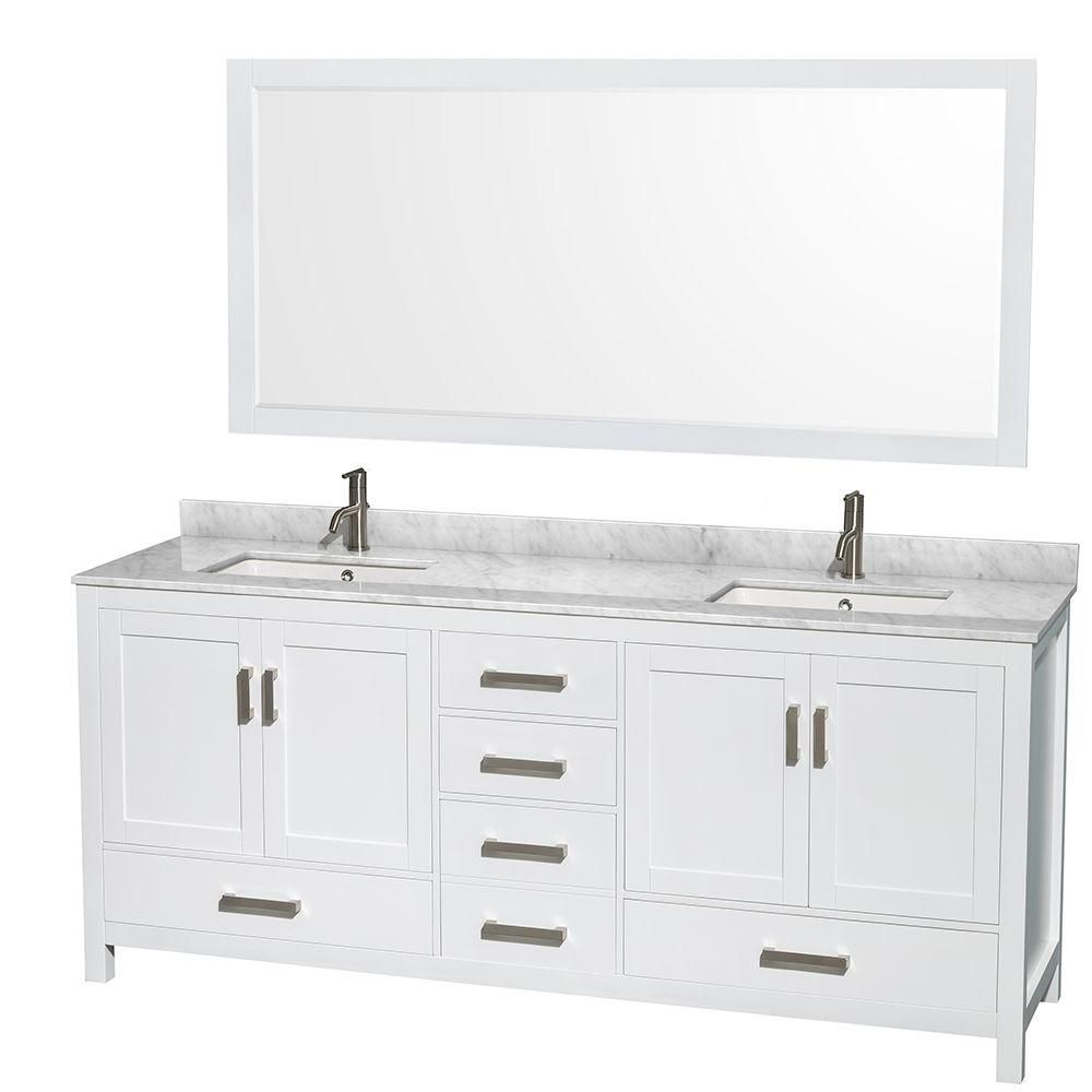 Sheffield 80 po Meuble blanc dbl. et revêt. en marbre blanc Carrare et de 177cm 70po Miroir