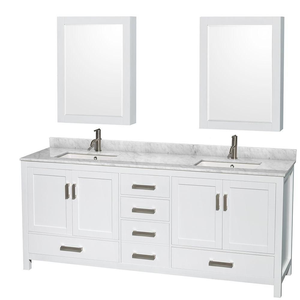 Sheffield 80-inch W Double Vanity in White with Marble Top in Carrara White and Medicine Cabinets