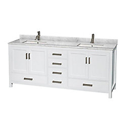 Sheffield 80-inch Double Vanity in White with Marble Vanity Top in Carrara White