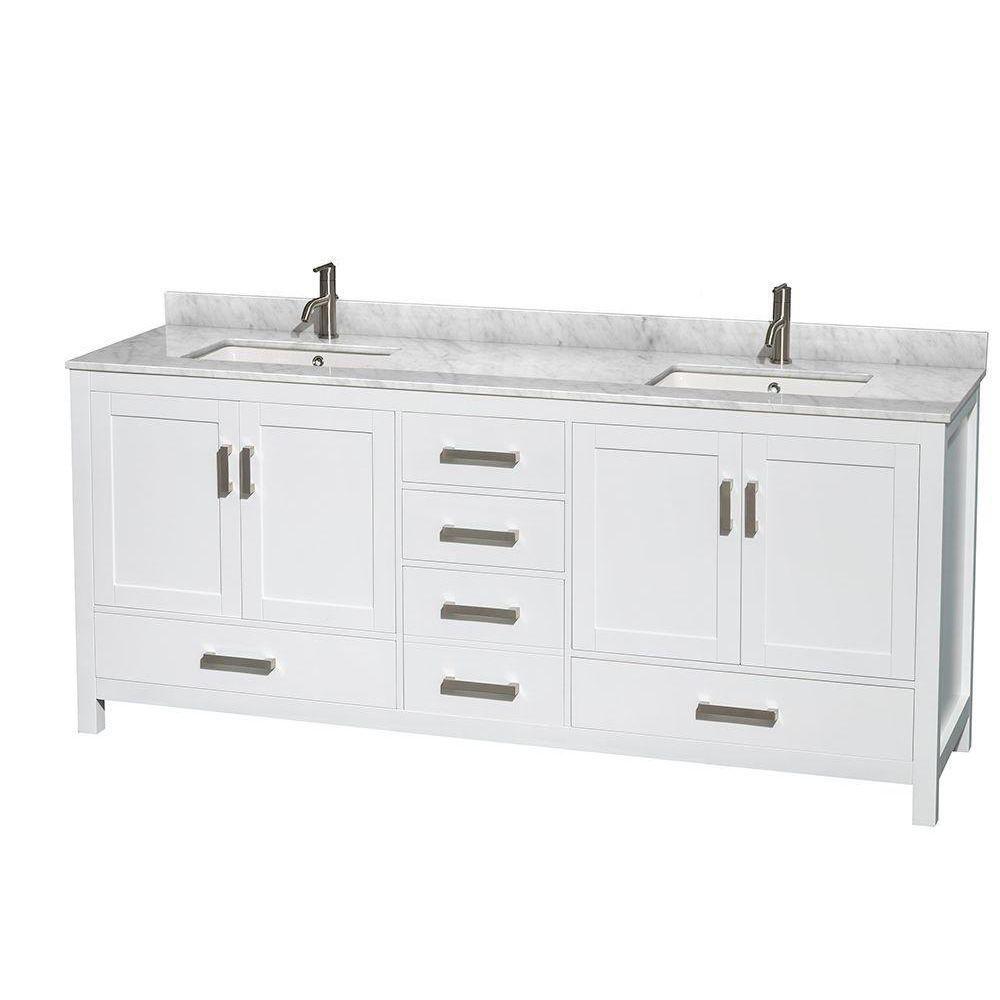Sheffield 80 po Meuble blanc double avec revêtement en marbre blanc Carrare