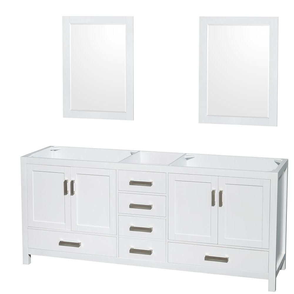Wyndham Collection Sheffield 80-Inch  Double Vanity Cabinet with 24-Inch  Mirrors in White