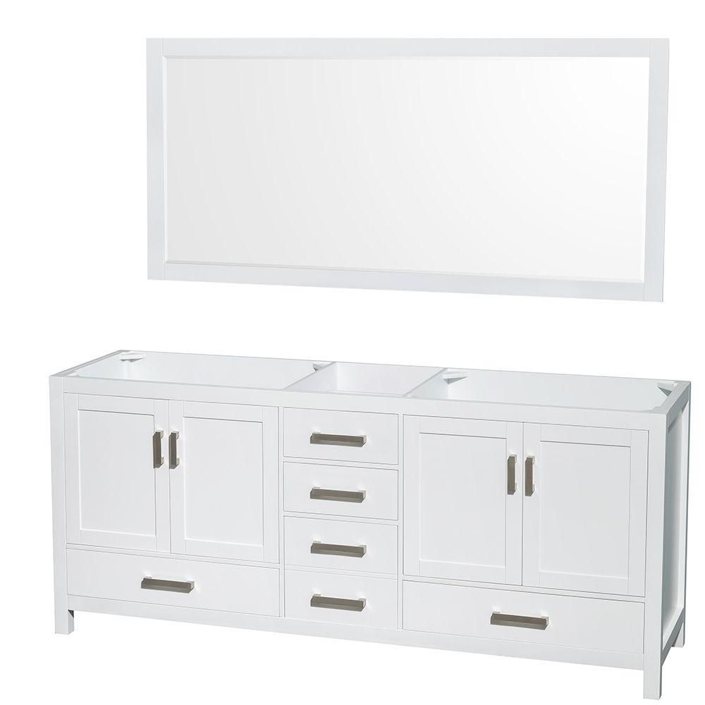 Sheffield 80-Inch  Double Vanity Cabinet with 70-Inch  Mirror in White