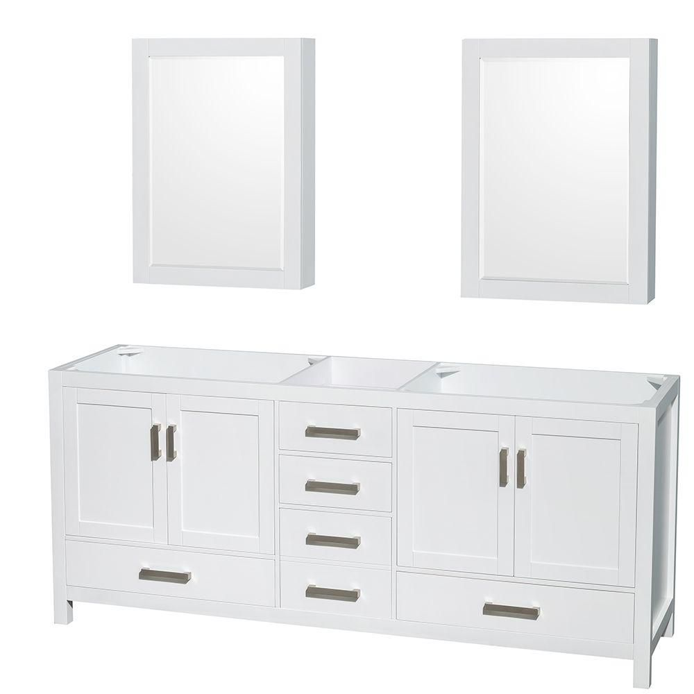 Sheffield 80-Inch  Double Vanity Cabinet with Medicine Cabinets in White