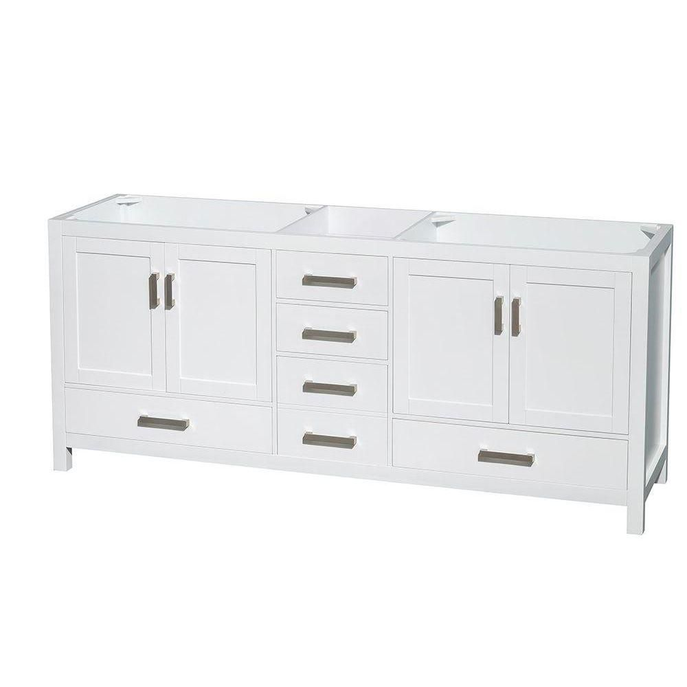Wyndham Collection Sheffield 78 1/2-Inch  Double Vanity Cabinet in White