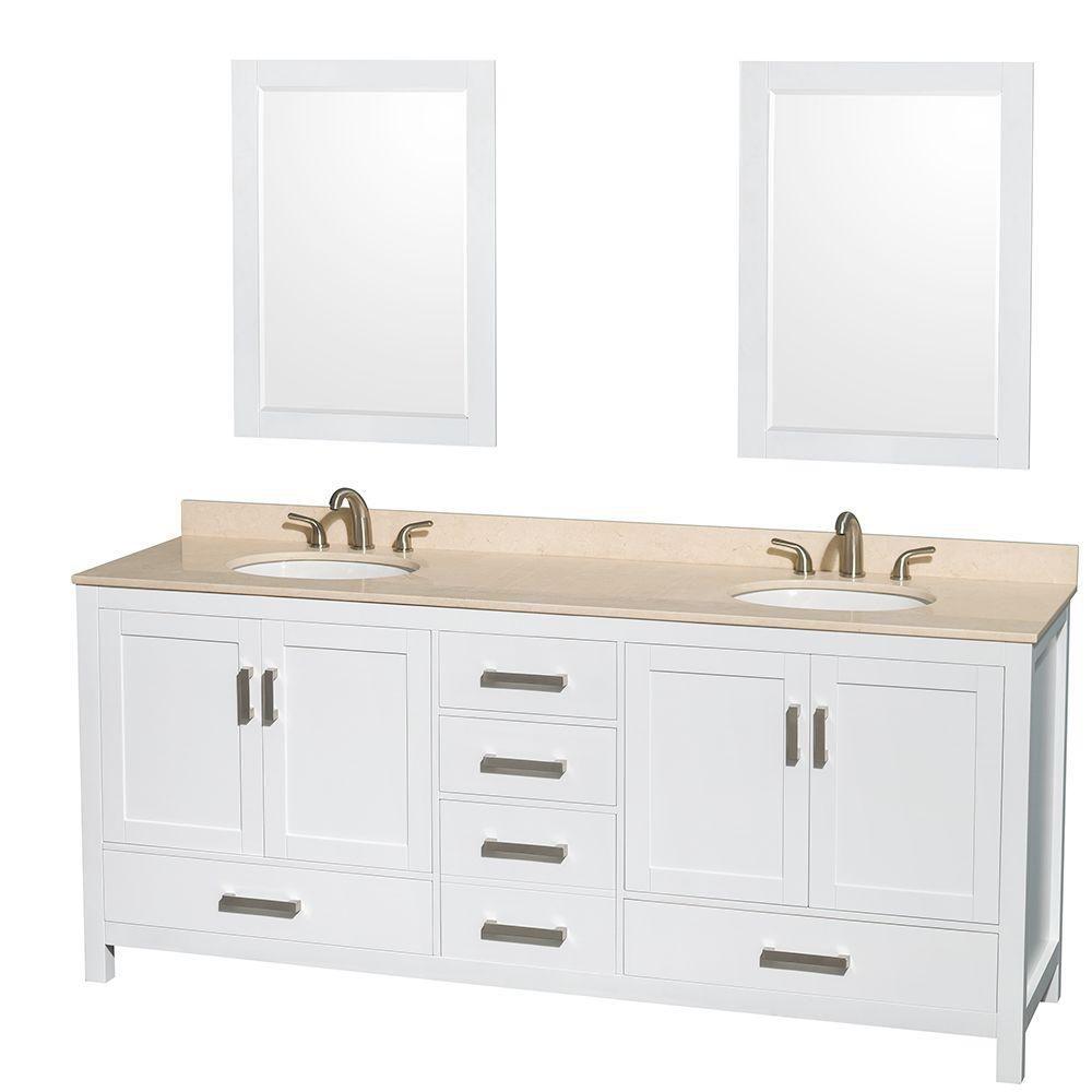 Sheffield 80 po Meuble blanc dbl. et revêt. en marbre ivoire, évier ovale et de 24po Miroirs