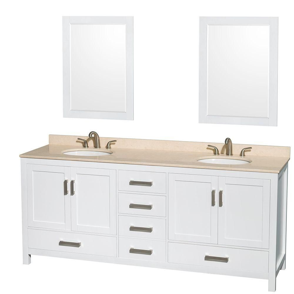 Sheffield 80-inch W Double Vanity in White with Marble Top in Ivory and 24-inch Mirrors