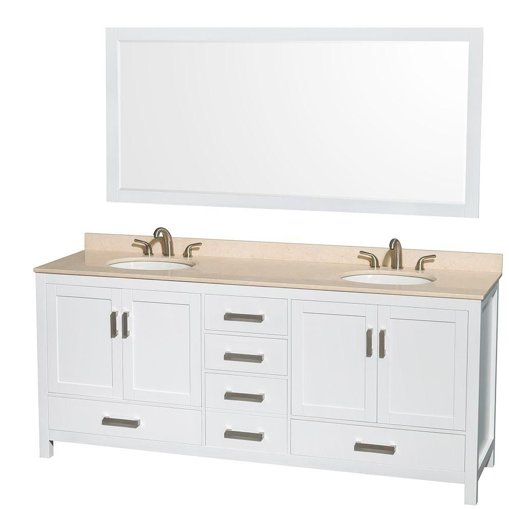 Sheffield 80-inch W Double Vanity in White with Marble Top in Ivory and 70-inch Mirror