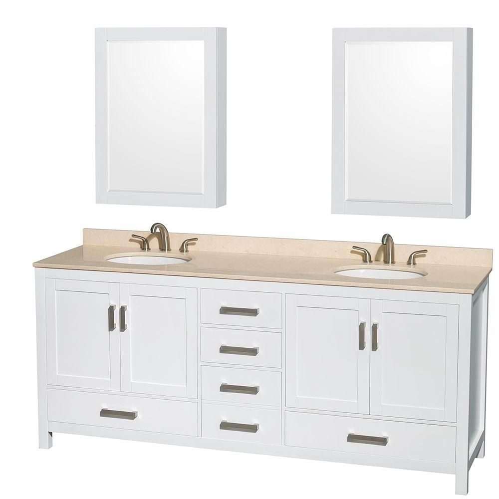 Sheffield 80-inch W Double Vanity in White with Marble Top in Ivory and Medicine Cabinets