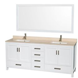 Wyndham Collection Sheffield 80-inch W 5-Drawer 4-Door Vanity in White With Marble Top in Beige Tan, Double Basins