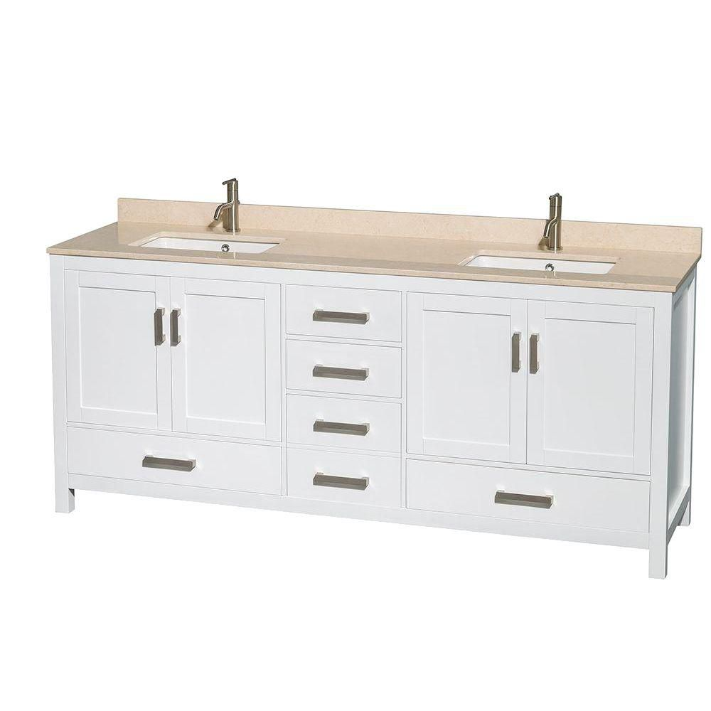 Sheffield 80-inch W 5-Drawer 4-Door Vanity in White With Marble Top in Beige Tan, Double Basins