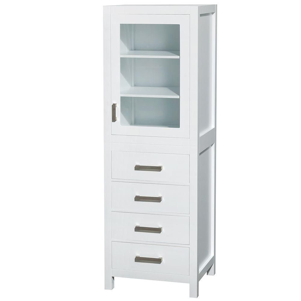 wyndham collection armoire linge sheffield de 24 po l x 20 po p x 71 1 4 po h en blanc home. Black Bedroom Furniture Sets. Home Design Ideas