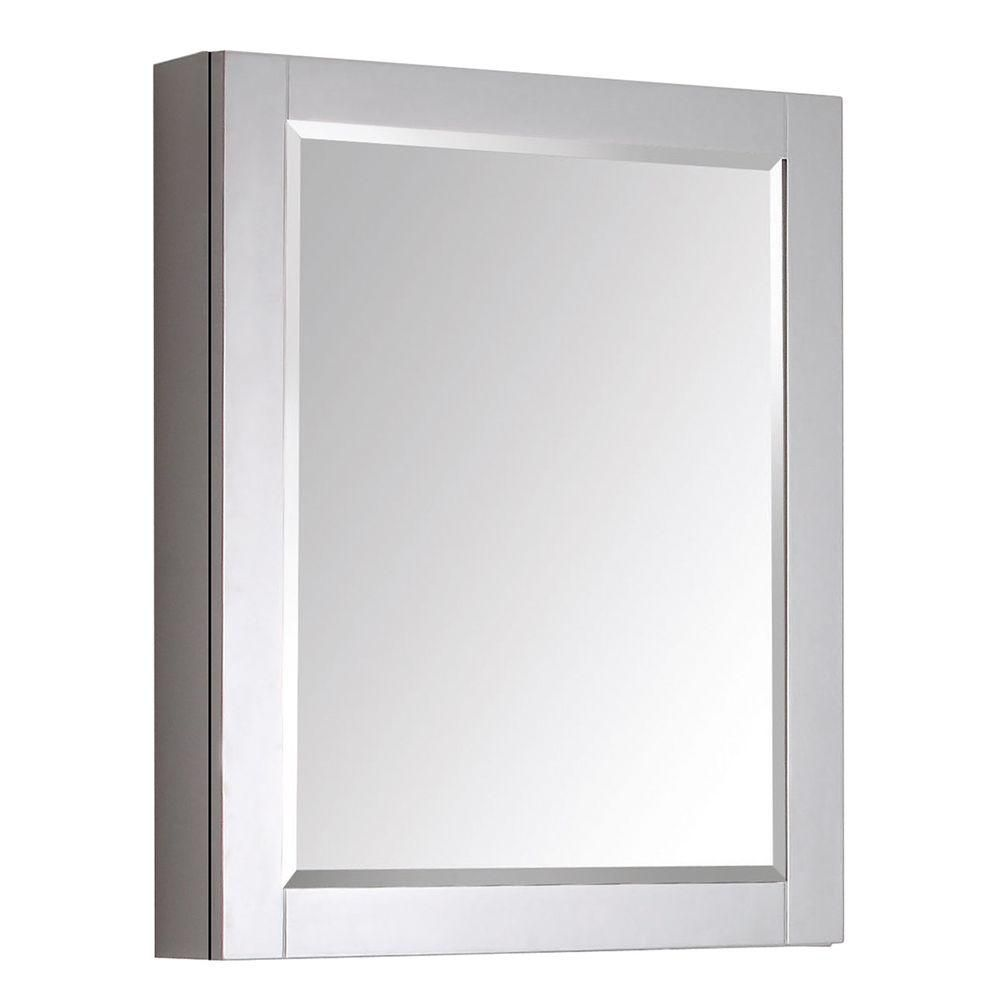 Transitional 30-inch L x 24-inch W Framed Wall Medicine Cabinet in Chilled Grey