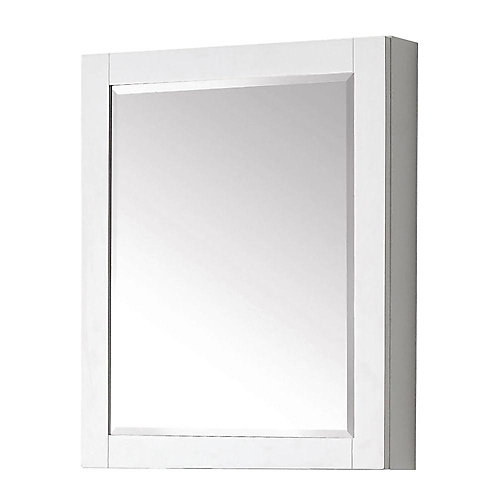 Transitional 30-inch L x 24-inch W Framed Wall Medicine Cabinet in White