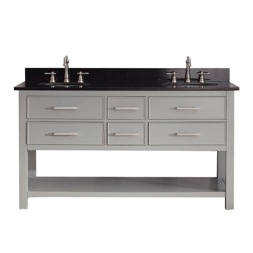 Brooks 60-inch W Vanity in Chilled Grey Finish with Granite Top in Black