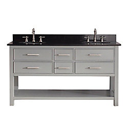 Avanity Brooks 61-inch W 4-Drawer Freestanding Vanity in Grey With Granite Top in Black, Double Basins