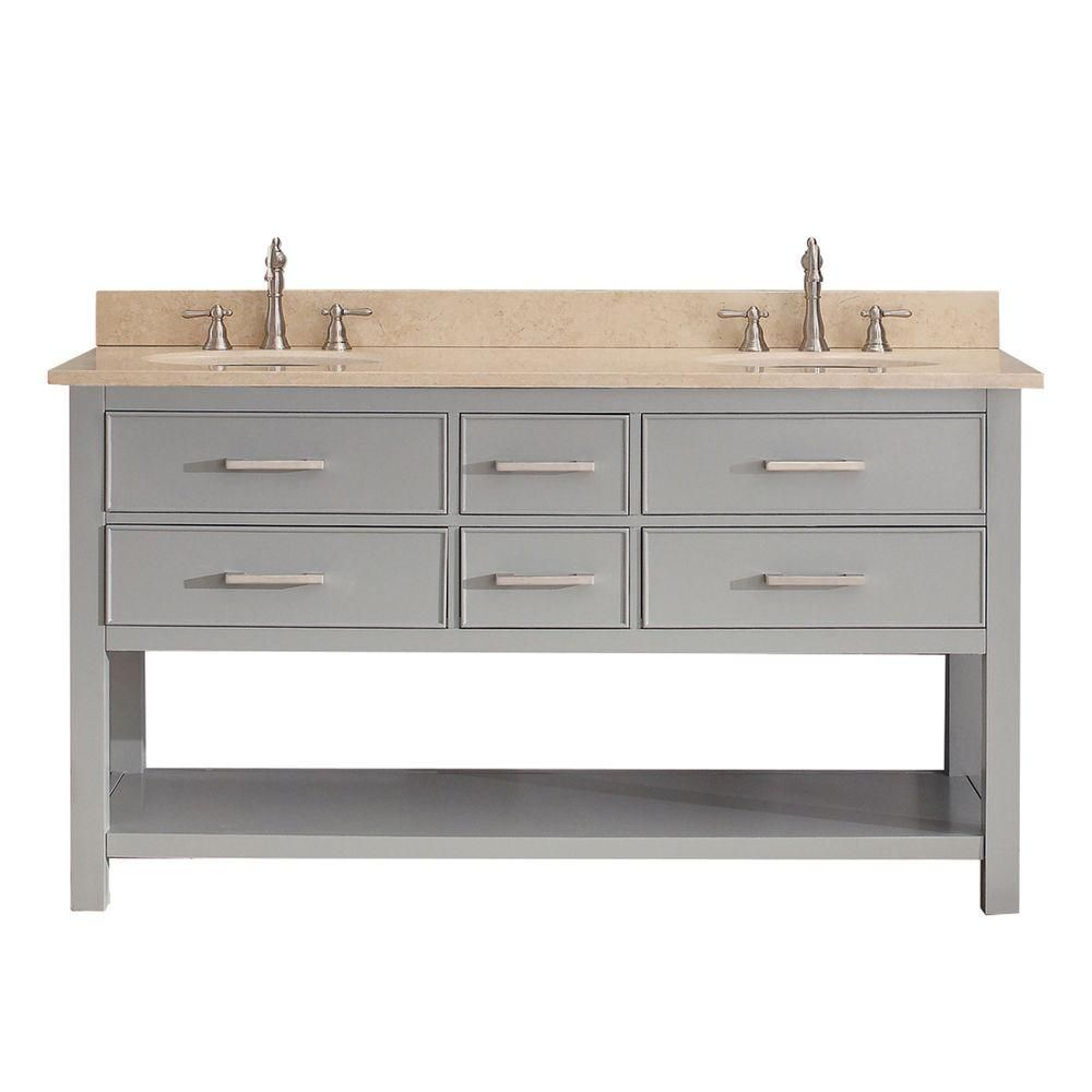 Avanity Brooks 61-inch W 4-Drawer Freestanding Vanity in Grey With Marble Top in Beige Tan, Double Basins