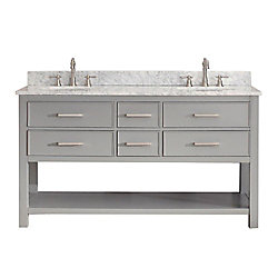 Avanity Brooks 61-inch W 4-Drawer Freestanding Vanity in Grey With Marble Top in White, Double Basins