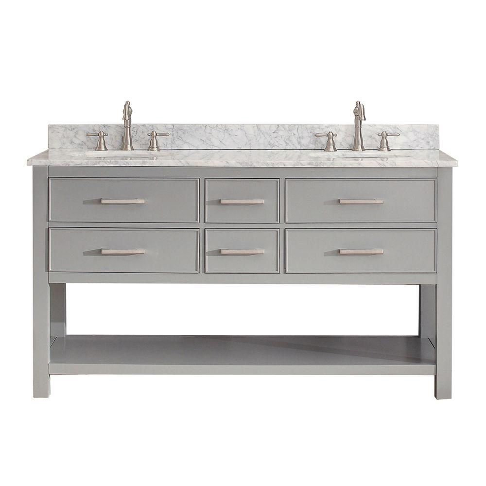 Brooks 61-inch W 4-Drawer Freestanding Vanity in Grey With Marble Top in White, Double Basins