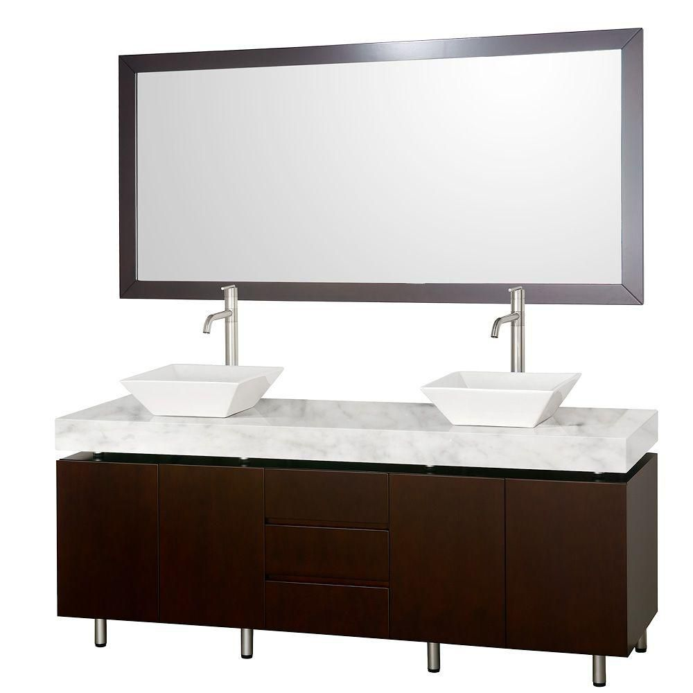 Malibu 72-inch W Vanity in Espresso with Marble Top in Carrara White, White Sinks and Mirror