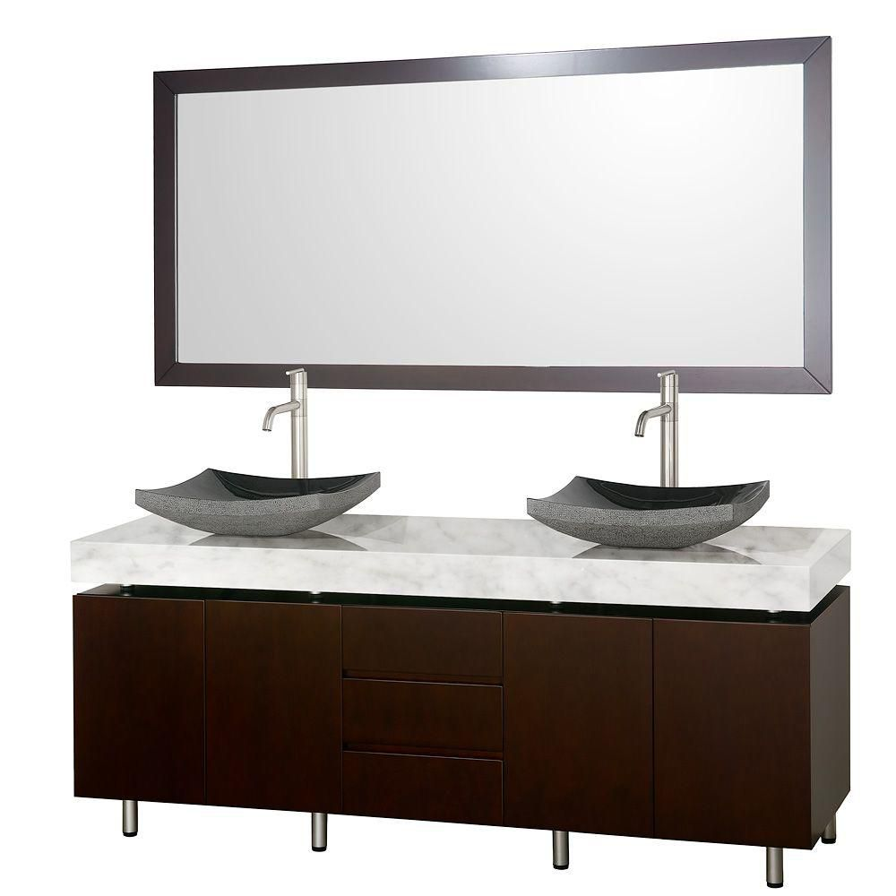 Malibu 72-inch W Vanity in Espresso with Marble Top, Black Granite Sinks and Mirror