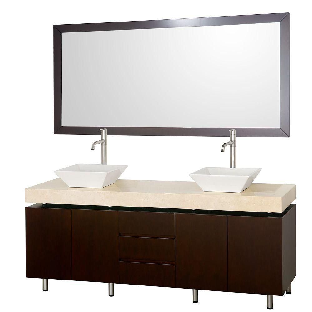 Malibu 72-inch W Vanity in Espresso with Marble Top in Ivory, White Porcelain Sinks and Mirror