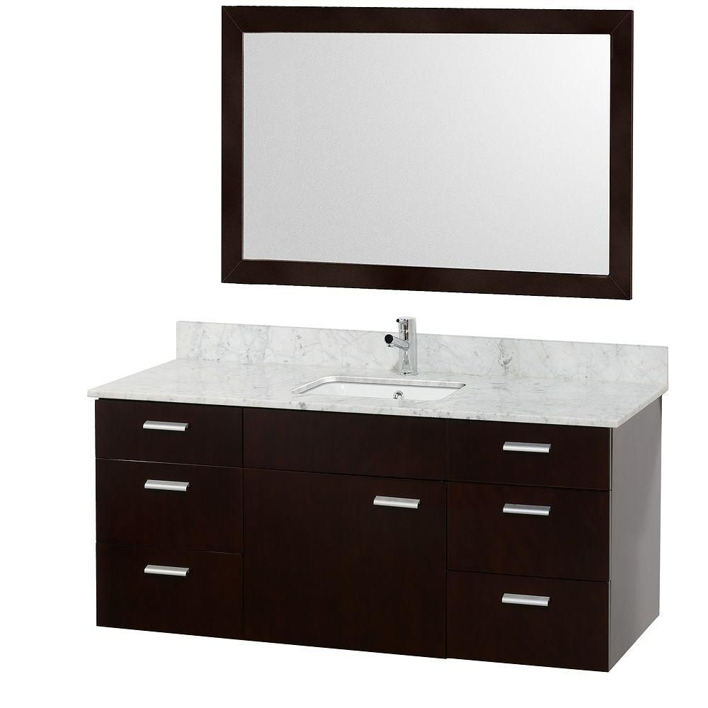 Encore 52-inch W Vanity in Espresso Finish with Marble Top in Carrara White and Square Sink