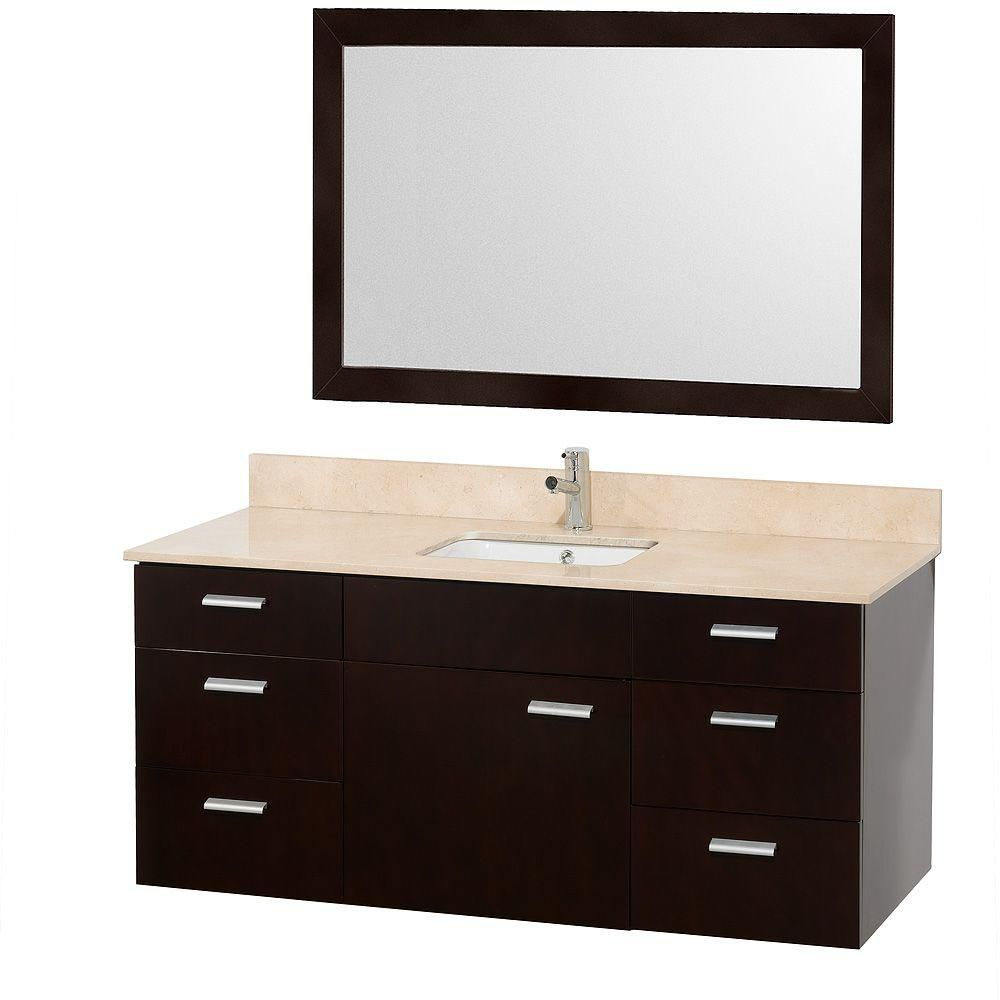 Encore 52-inch W Vanity in Espresso with Marble Top in Ivory and White Square Sink