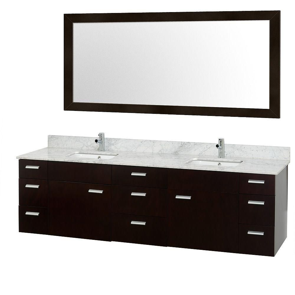Encore 78-inch W Vanity in Espresso with Marble Top in Carrara and White Square Sink
