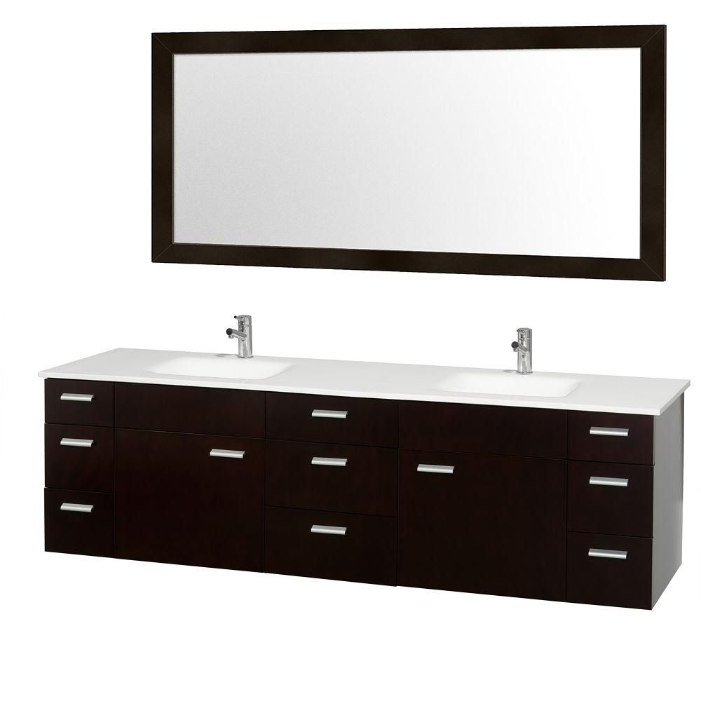 Encore 78-inch W Vanity in Espresso Finish with Stone Top in White and Integral Square Sink