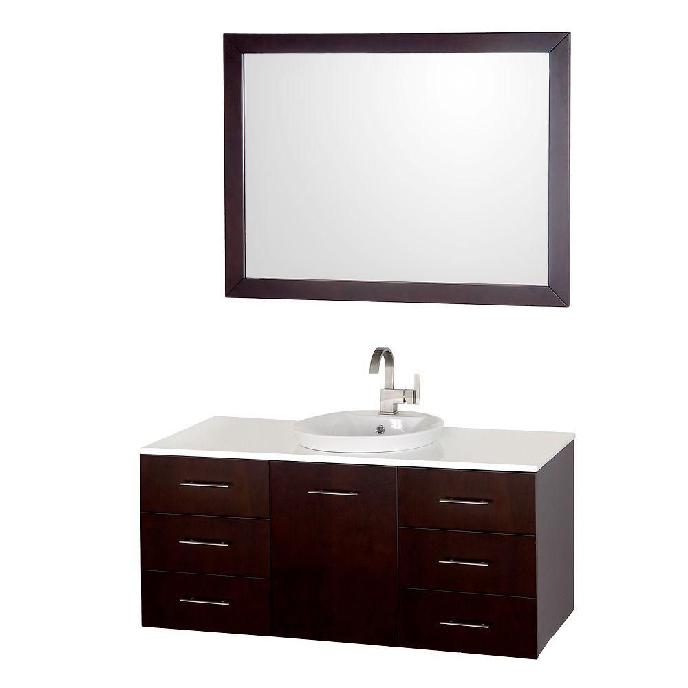 Arrano 48-inch W Vanity in Espresso with Stone Top in White and Porcelain Semi-Recessed Sink