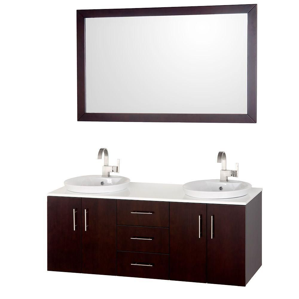 Wyndham Collection Arrano 55-inch Vanity in Espresso with Glass Vanity Top in White and Mirror