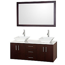 Wyndham Collection Arrano 55-inch W 3-Drawer 4-Door Vanity in Brown With Artificial Stone Top in White, Double Basins