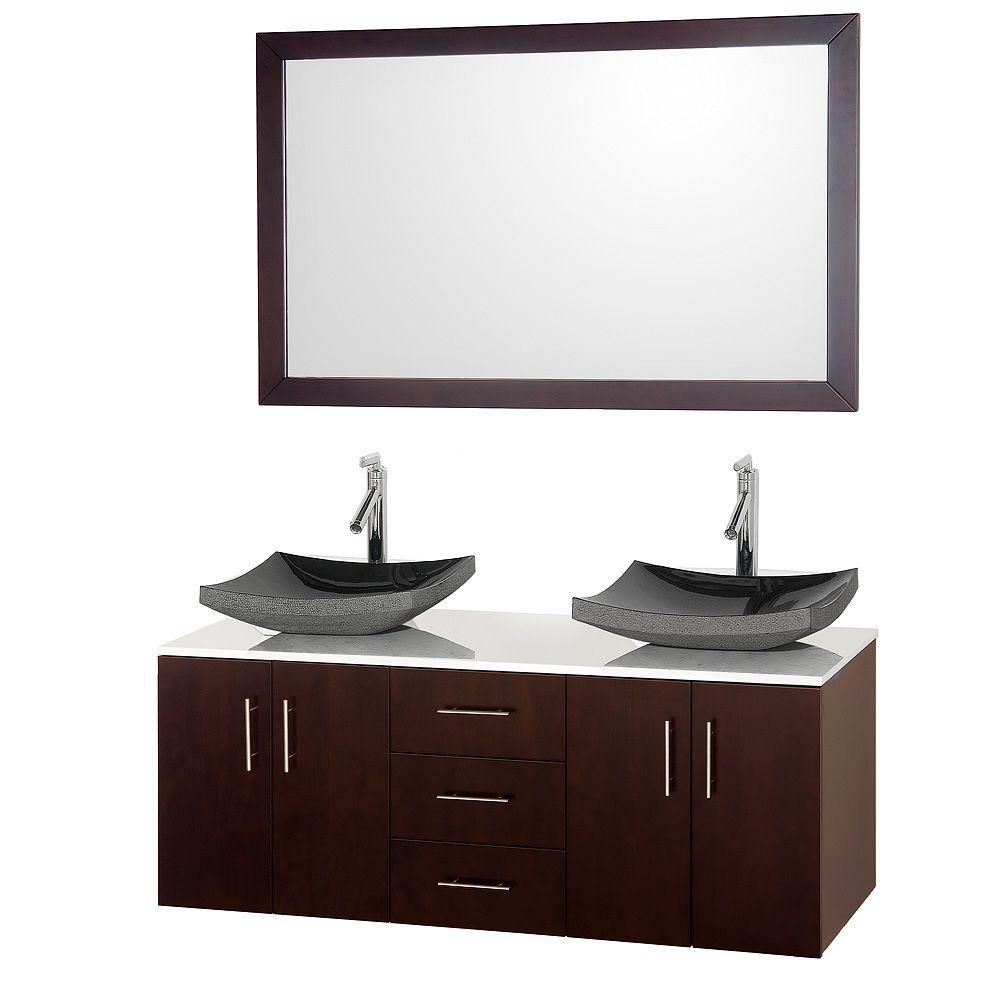 Arrano 55-inch W Double Vanity in Espresso with Stone Top in White and Granite Sink