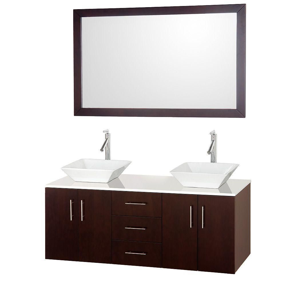 Arrano 55-inch W Double Vanity in Espresso with Stone Top in White and Marble Sink